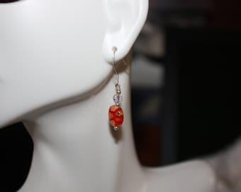 Red Millefiori and Swavorski Earrings