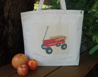 Natural cotton market tote - Large canvas bag - Reusable shopping bag - Going to the park with the kids tote - Little red wagon