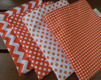 ON SALE - Reusable sandwich and/or reusable snack bag -  Orange polka dots, chevron and gingham -  Please read notes before purchasing