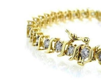 Vintage Stunning High End 14k Yellow Gold S Link 49 Round Brilliant Cut Diamond Eternity Tennis Bracelet 18 Grams Modern Mid Century 1950's