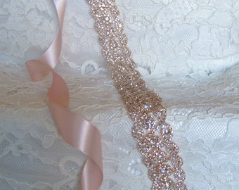 Rose Gold Crystal Rhinestone Bridal Sash,Wedding sash,Bridal Accessories,Bridal Belt and sashes,Ribbon Sash,Style #24