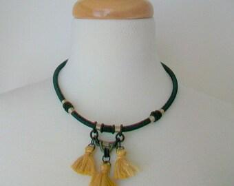 Tassel necklace   Black and gold   Black thick cord   Three Gold tassels   Trendy tassels