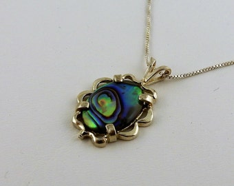 Abalone Shell pendant on Sterling silver chain