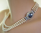 Pearl And Sapphire Necklace, Great Gatsby Jewelry, Art Deco, Montana, Bridal Jewelry, Wedding Necklace, Bridal Pearls, Downton Abbey Jewelry