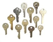 12 vintage keys, antique keys, old keys, interesting old keys, flat keys, words and writing, bulk keys, wedding, numbers, metal keys, A1 #5B