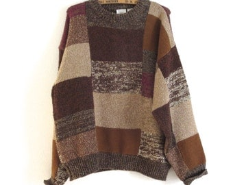 Vintage Together sweater Patchwork pullover sweater Unisex sweater Boyfriend Sweater Autumn colors sweater Tan and brown sweater