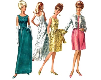 1960s Evening Dress and Jacket Pattern Sleeveless Bell Skirt Scoop Neck Cropped Jacket Simplicity 6788 Bust 31 Vintage Sewing Pattern
