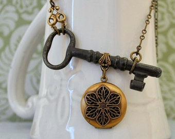 vintage skeleton key necklace with scent locket, topaz, one of a kind, ONCE UPON A TIME, old key, past memory, unlocks, vintage locket