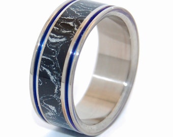 Titanium Wedding Band, Mokume Gane, Mens Ring, Womens Ring, Eco-Friendly, titanium rings - UNDER the COVER of NIGHT
