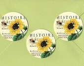Stickers, Bee Stickers, Sunflower, Vintage Style, Bee, Sticker Seals
