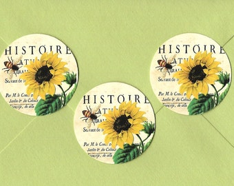 Stickers, Bee Stickers, Sunflower, Vintage Style, Bee, Sticker Seals
