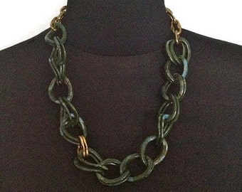 ON SALE Chunky Minimalist Trendy Green and Gold Link Asymmetrical Chain Necklace