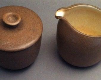 Vintage Heath Ceramics Brown Creamer and Covered Sugar Bowl, retro Heath Design Ceramics, Heath Pottery, Heath Products,1960s, **USA ONLY**