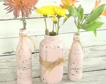 Vintage Bottle Decor - Pink Painted Jar Decor - Rustic Chic Farmhouse Decor - Vintage Home Vases Set - Country Chic Wedding Centerpiece