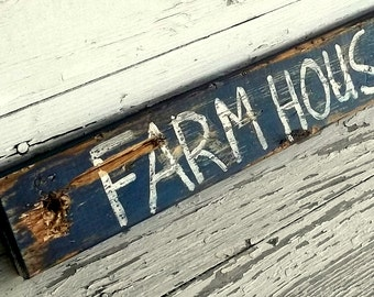 Reclaimed Wood Sign Farmhouse Decor Rustic Distressed Sign, Chippy Paint Sign, custom color
