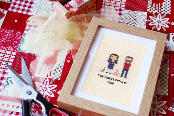 Family Custom Pixel Cross Stitch Portrait (Framed)