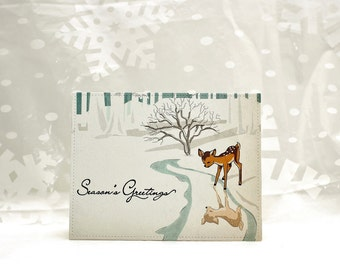 Vintage Inspired Christmas Cards, Vintage Inspired Christmas Card Set, Retro Christmas Cards, Fawn Christmas Cards, Deer Christmas Cards,