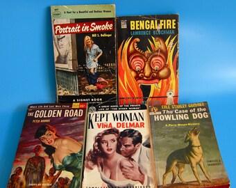 LOT 5 VINTAGE Pulp Mystery Novels Portrait in Smoke Golden Road Kept Woman 50s