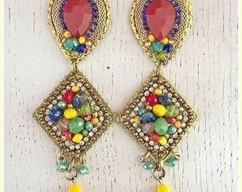Boho style- clip on earrings- dangle earrings