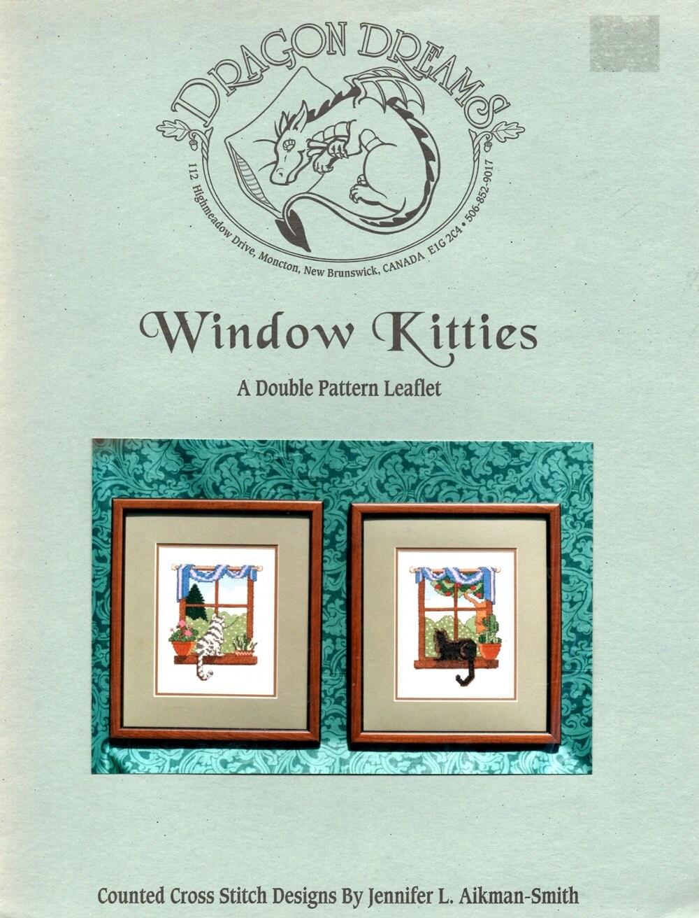Window Kitties Striped White BlackGeraniums by howtobooksandmore
