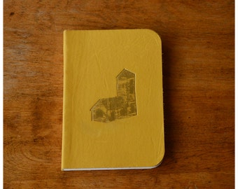 Pocket Size Leather Journal  - Ocher Leather Diary - Lined Paper Notebook - House Notebook - Recycled Paper