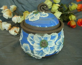 Ceramic Sugar Jar, Honey Pot, Jam Crock in Sky Blue with White Poppies on Black Mountain