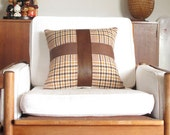 HALF Price SALE : Tan Leather and Houndstooth Cross Pillow ... Luxe Up-cycled Leather Cushion