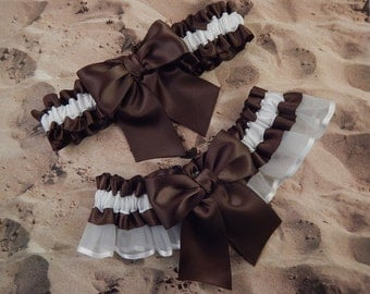 Brown Satin White Satin Organza Wedding Bridal Garter Toss Set