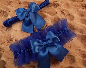 Royal Blue Tulle Royal Blue Satin Bridal Wedding Garter Toss Set