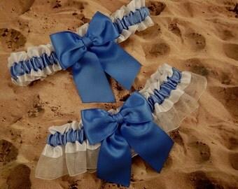 Cornflower Blue Satin white Satin White Organza Wedding Garter Bridal Set