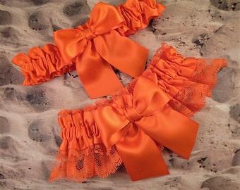 Orange Satin Orange Lace Wedding Bridal Garter Toss Set