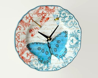 "NEW!  9"" Colorful Butterfly Wall Clock, French Clock, Dragonfly Clock, SILENT Ceramic Plate Clock, Unique Wall Decor, Kitchen Clock  2010"