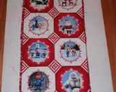 Fabric Wall Hanging Panel Cheater Quilt Christmas Pennants Bunting Winter Christmas Wall Decor Rudolph Misfit Toys Bombie Elves Santa