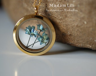 Real Dry Flowers - Gold Plated Medallion Necklace