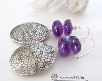 Amethyst Sterling Silver Earrings, Purple Gemstone Earrings, February Birthstone Earrings, Amethyst Crystal Jewelry, Handmade Silver Jewelry
