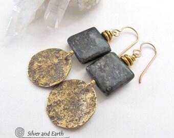 Gold Dangle Earrings, Agate Earrings, Brown Stone Earrings, Brass Earrings, Natural Stone, Handmade Artisan Earthy Chic Modern Metal Jewelry