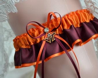 Virginia Tech Hokies Theme- Keepsake Wedding Garter Set- Bridal Keepsake Garter - NCAA Keep Garter