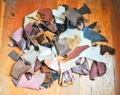 Vintage Scrap Leather Mix Lot almost 3 Lbs 30+ pcs