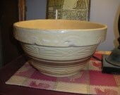 Antique Yellow Ware Brown Band Stoneware Bowl