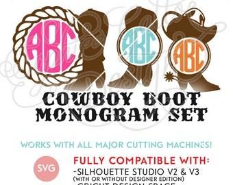 Cowboy Boot Monogram Set SVG DXF PNG digital download die cut files Silhouette Cricut vector clipart graphics Vinyl Cutting Machine Printing