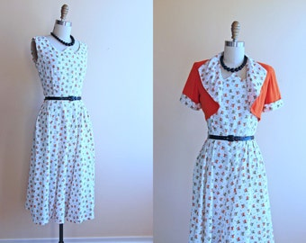 1940s Dress - Vintage 40s 50s Novelty Dress - Orange Olive Car Print Swing Sundress Bolero S - Vroom