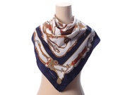 Navy Blue Equestrian Shawl 90s Vintage Patterned Neck Scarf White Brown SADDLE PRINT Ridding Muffler Neckerchief Unisex Gift Neckwear