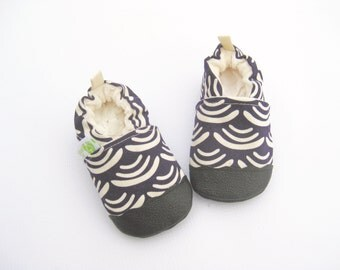 Organic Vegan Lightweight Canvas Smile and Wave in Dark Plum / non-slip soft sole baby shoes / made to order / babies toddlers