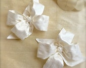 Private Listing for Ernelle Ecru Silk Bow with White Monogram Button Center