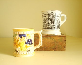 Mustache mug, coffee mug, choose 1, horse & buggy design or beer drinkers stein, Movember gift, old-fashioned coffee cup