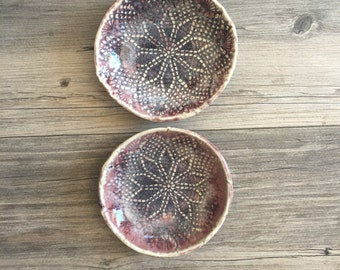Dish sets -Ceramic bowls in a wine stain glaze - tapa bowls - salad bowl - tableware organic shaped ice cream Bowls set of 2