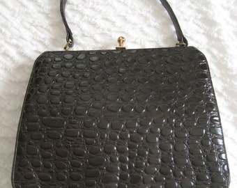 25 per cent off. Use coupon code HOLIDAYHAPPINESS2.Vintage 1950s Life Stride faux reptile leather purse. Kelly bag.