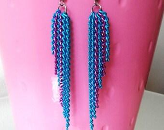 Long Blue & Purple Chain Earrings