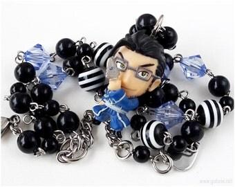 FMA Maes Beaded Necklace, Black, White, Blue, Anime Figure, Anime Jewelry, OOAK