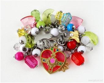 Sailor Moon Cosmic Heart Compact Charm Bracelet, OOAK, Stainless Steel, Magical Girl, Kawaii Jewelry, Anime Bracelet, Decora